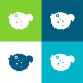 Blowfish Flat čtyři barvy minimální ikona nastavena