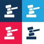 Auction blue and red four color minimal icon set