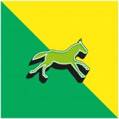Black Running Horse Zelená a žlutá moderní 3D vektorové logo ikony