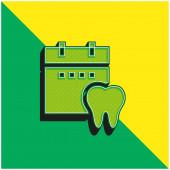 Schůzka Zelené a žluté moderní 3D vektorové logo