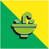 Becken Grünes und gelbes modernes 3D-Vektor-Symbol-Logo