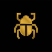 Brouk pozlacené kovové ikony nebo logo vektor