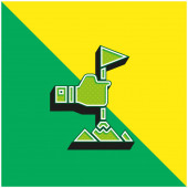 Achievement Green and yellow modern 3d vector icon logo