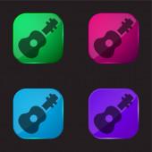 Akustická kytara čtyři barvy skleněné tlačítko ikona