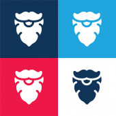 Beard blue and red four color minimal icon set