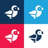 Madár kék és piros négy szín minimális ikon készlet