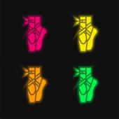 Ballett vier Farben leuchtenden Neon-Vektor-Symbol