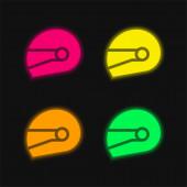 Kolo helma čtyři barvy zářící neonový vektor ikona