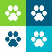 Animal Track Flat čtyři barvy minimální ikona nastavena