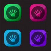 Animal Footprint négy színű üveg gomb ikon