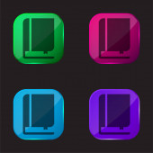 Book And Bookmark four color glass button icon