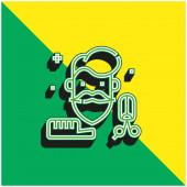 Beard Green and yellow modern 3d vector icon logo