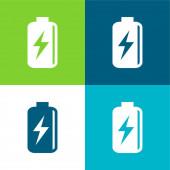 Batterie mit Bolzen Symbol Flache vier Farben Minimalsymbolsatz