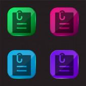 Angehängte Datei vier Farbe Glas-Taste-Symbol