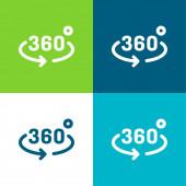 360 fok Lapos négy szín minimális ikon készlet
