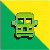 Airport Bus Zöld és sárga modern 3D vektor ikon logó