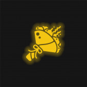 Ikona žlutého zářícího neonu kytice