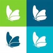 Nagy szárny pillangó Lapos négy szín minimális ikon készlet