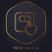 Apple A Měřítko Obrysy zlaté čáry prémie logo nebo ikona