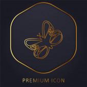 Krásný motýl zlaté linie prémie logo nebo ikona