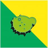 Blowfish Grünes und gelbes modernes 3D-Vektorsymbol-Logo