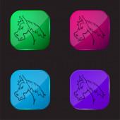 Angry Horse Face Side View Obrys čtyři barvy skla ikona tlačítka