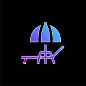 Plážový deštník modrá vektorová ikona