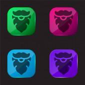 Beard four color glass button icon