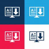 Könyv kék és piros négy szín minimális ikon készlet