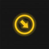 Šipka směřující do pravého dolního rohu žlutá zářící neonová ikona