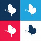 Schwarz Schmetterling Seitenansicht blau und rot vier Farben minimalen Symbolsatz