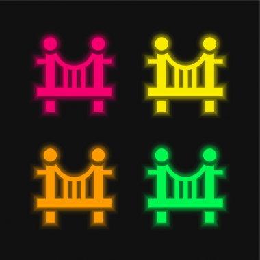 Bridge four color glowing neon vector icon