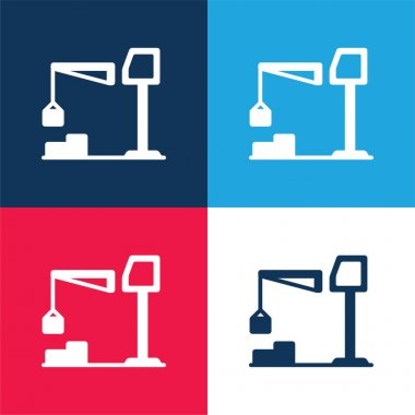 Big Derrick With Boxes blue and red four color minimal icon set stock vector