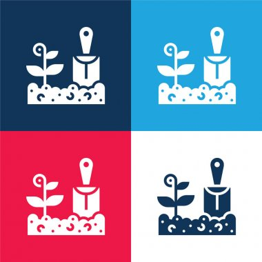 Agriculture blue and red four color minimal icon set stock vector