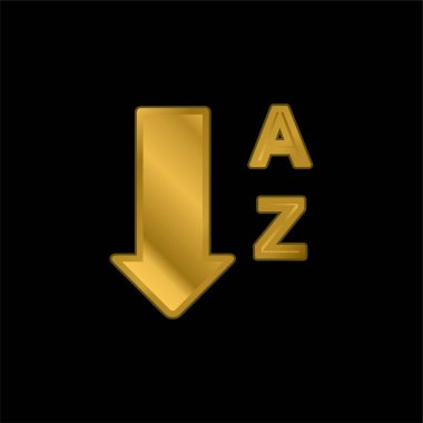 Alphabetical Order From A To Z gold plated metalic icon or logo vector
