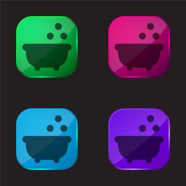 Bathtub four color glass button icon stock vector