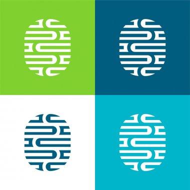 Brain Flat four color minimal icon set stock vector