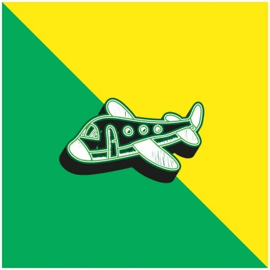 Airplane Green and yellow modern 3d vector icon logo