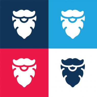 Beard blue and red four color minimal icon set stock vector