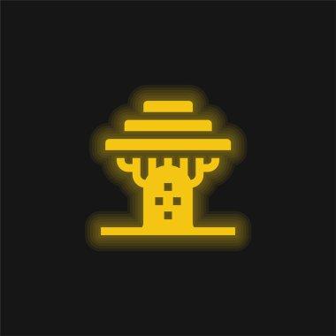 Baobab yellow glowing neon icon stock vector