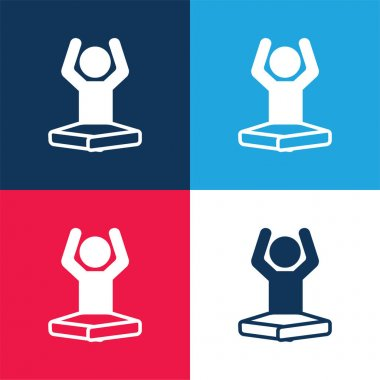 Boy On Lotus Position Flexing Arms blue and red four color minimal icon set stock vector