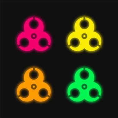 Biohazard four color glowing neon vector icon stock vector