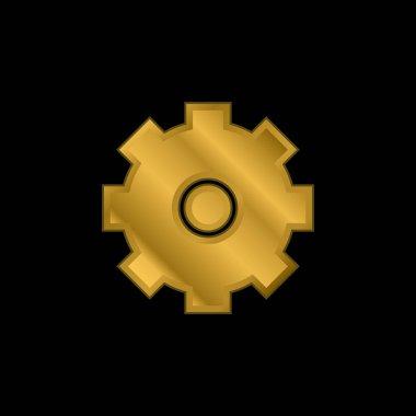 Big Cogwheel gold plated metalic icon or logo vector stock vector