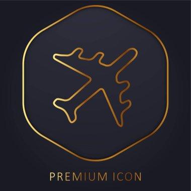 Black Airplane golden line premium logo or icon stock vector