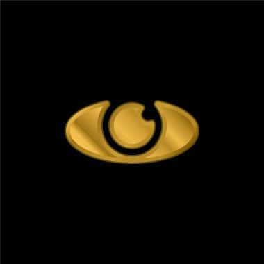 Big Eye gold plated metalic icon or logo vector stock vector