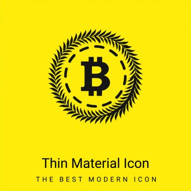 Bitcoin Surrounded By A Circle Of Olive Leaves minimal bright yellow material icon stock vector