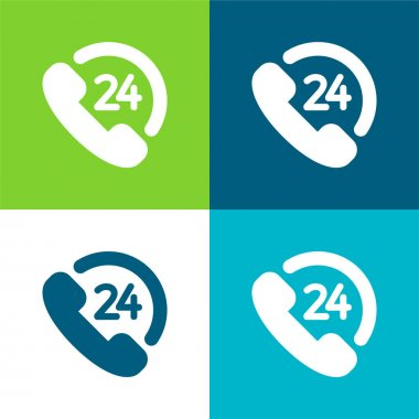24 Hourse Support Flat four color minimal icon set stock vector