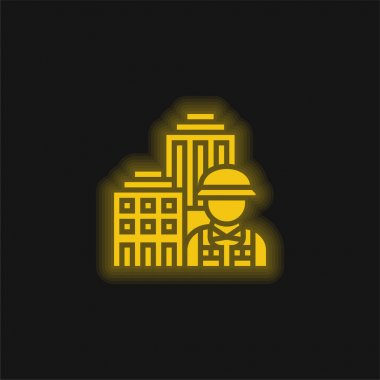 Architecture yellow glowing neon icon