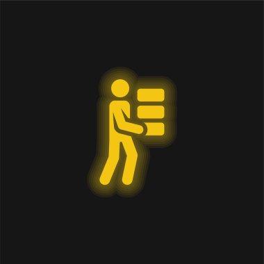 Bricks yellow glowing neon icon stock vector