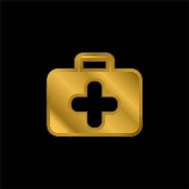 Briefcase gold plated metalic icon or logo vector stock vector